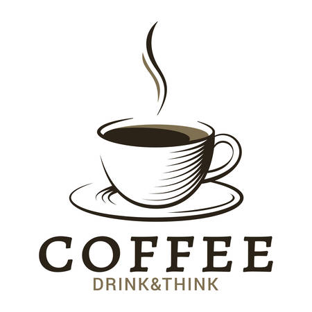 coffee cup vintage logo on white background