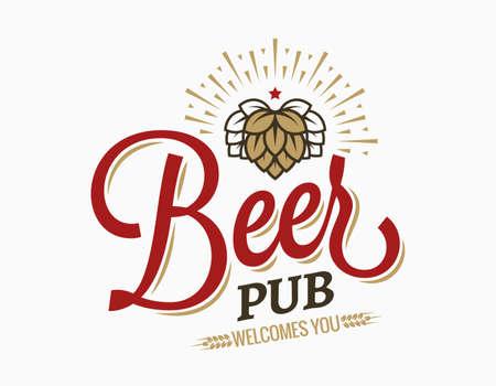 Beer pub vintage logo on white background