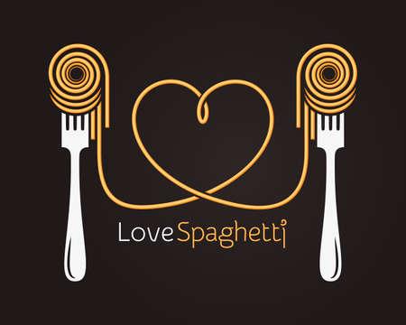 Amo il concetto di spaghetti. Pasta con forchetta su sfondo nero