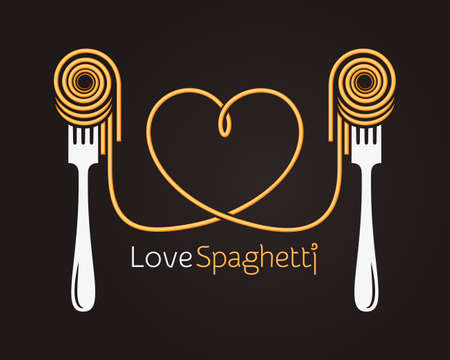 Love spaghetti concept. Pasta with fork on black background 矢量图像