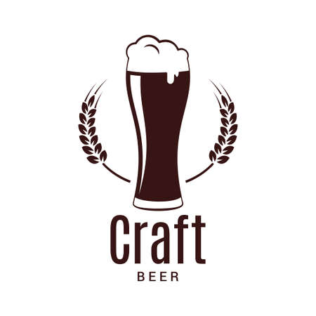 Beer glass with wheat logo. Craft brewery design on white background Illustration
