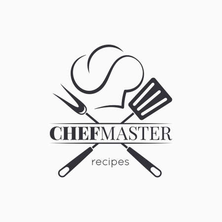 chef master with chef hat on white background Ilustrace