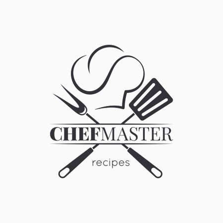 Maestro de chef con gorro de cocinero sobre fondo blanco.