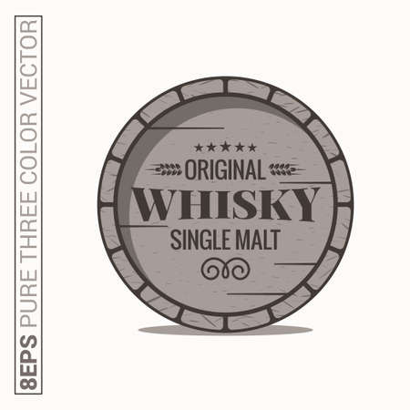 Whisky barrel . Single malt whiskey on white background Illustration