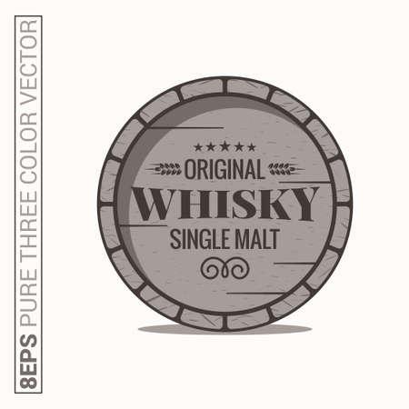 Whisky barrel . Single malt whiskey on white background Illustration