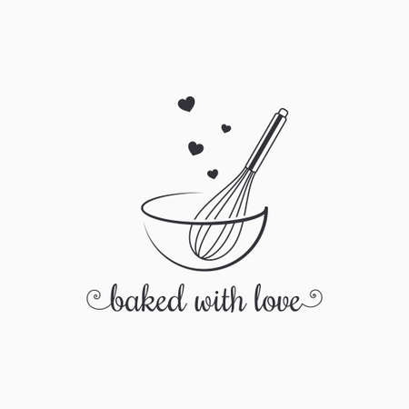 baking with wire whisk on white background