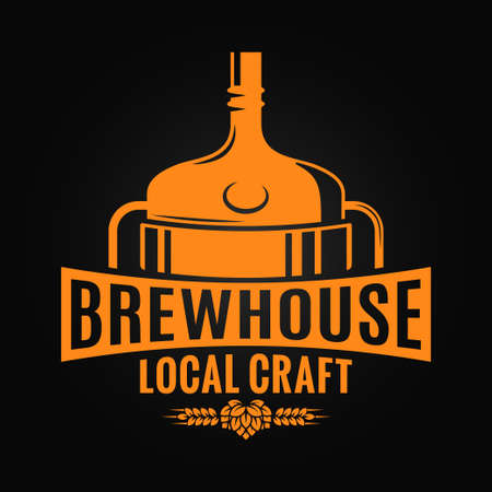 Beer tank brewery design. Brewhouse craft logo on black background