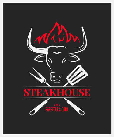 steakhouse logo with bull head on dark background