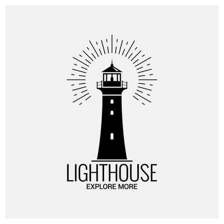 logo de navigation phare vintage sur fond blanc