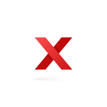 Alphabet logo lettre X sur fond blanc