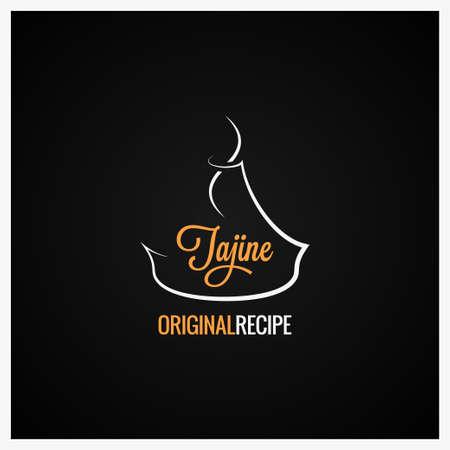 Fondo de diseño adornado de comida tajine plato marroquí Ilustración de vector