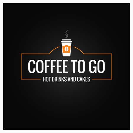 Café para ir a firmar. Taza de banner de café sobre fondo negro