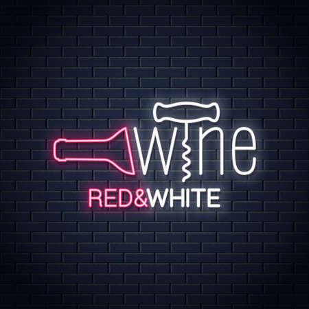 Banner al neon di vino. Insegna al neon della bottiglia di vino e del cavatappi del vino sul fondo della parete