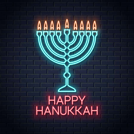 happy hanukkah neon sign on wall background
