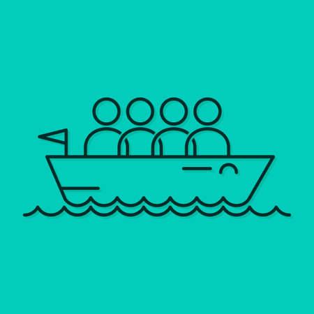 équipe commerciale icône ligne bateau concept arrière-plan Vecteurs