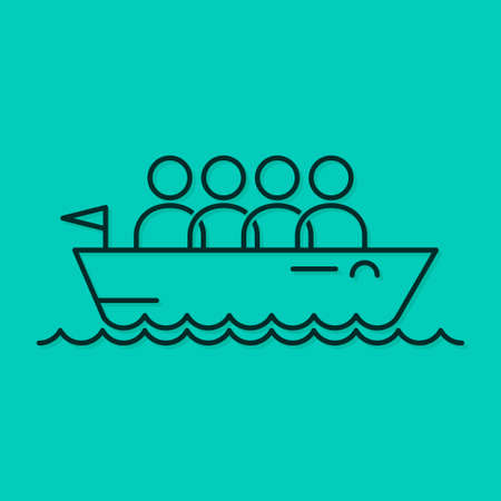 business team icon line boat concept background