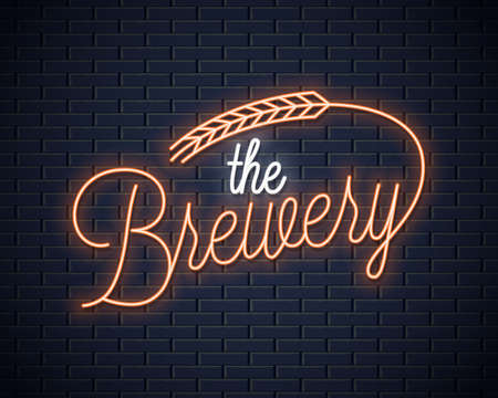 Beer vintage neon lettering. Brewery neon sign with wheat on black background