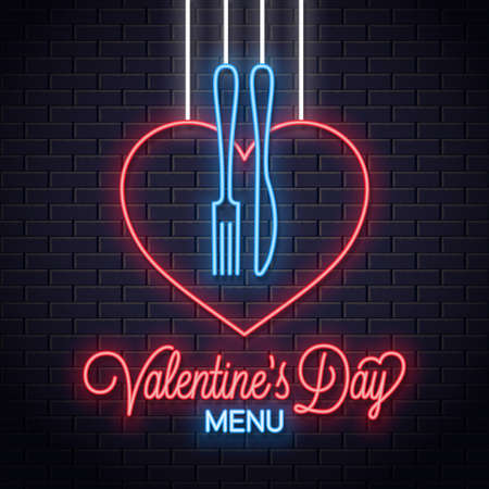 Valentines Day Neon Menu. Heart a fork and knife Illustration