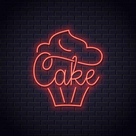 Cake neon   of bakery. Cupcake dessert neon Stock Vector - 117383895