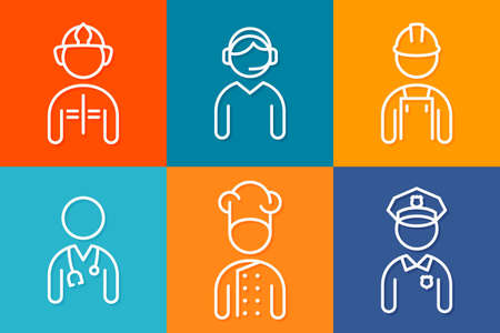 Profession set line icons. Set of people avatars. 10 eps Vectores