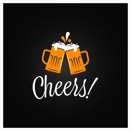 Beer cheers banner. Cheers lettering with beer