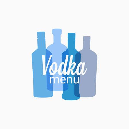 Vodka bottle color banner on white