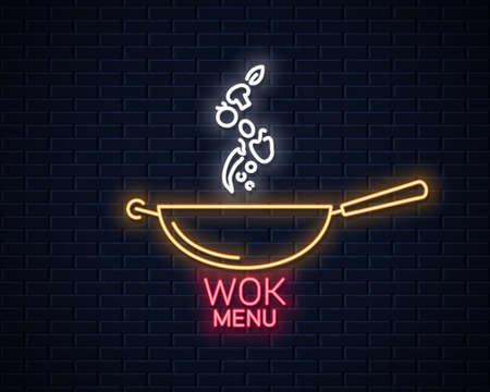 Wok neon banner. Frying pan cooking menu