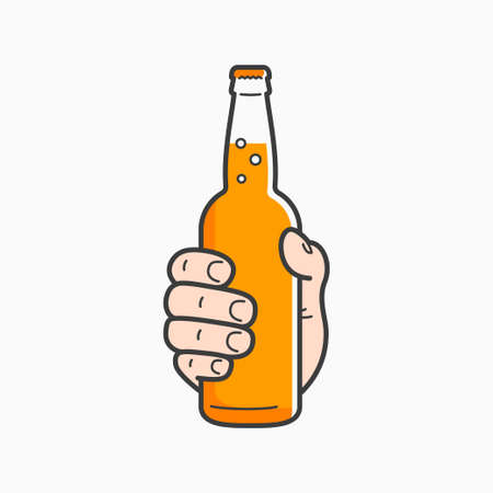 Hand hold beer bottle. Male hand holding a beer Çizim