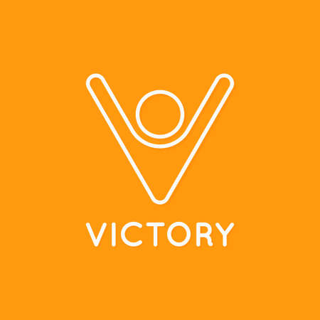 Victory logo of man with hands up. Winner concept. Letter V linear sign on yellow Logó