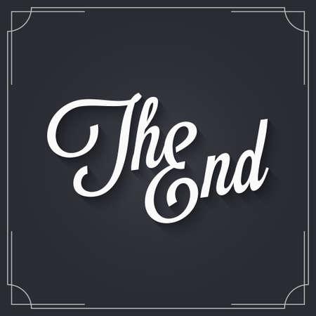 Het ontwerp van het eindteken. Vintage film einde Vector Illustratie