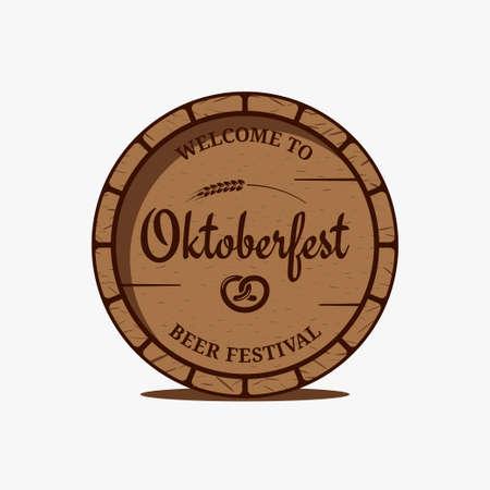 Oktoberfest beer barrel   on white