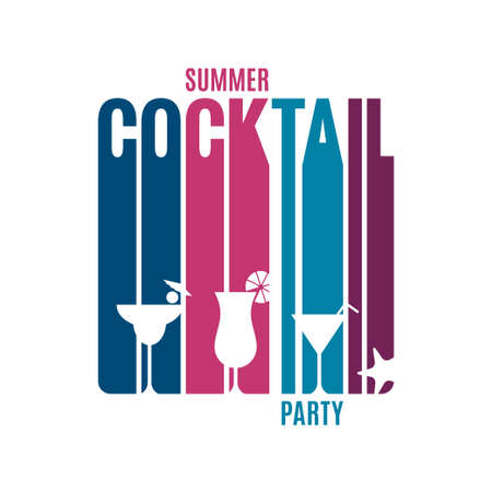 Cocktail party lettering. Glass of summer cocktail