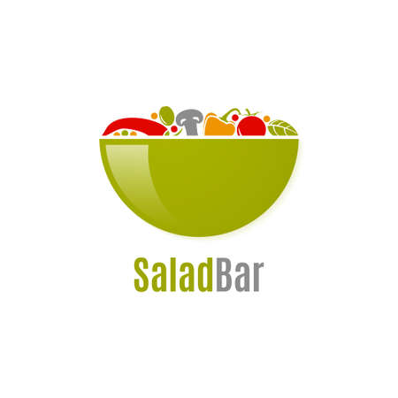 Vegetables salad logo. Salad bar design on white Vettoriali