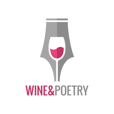 Wine glass pen concept. Wine and poetry logo