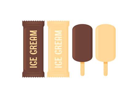 Ice cream set. Stick ice cream on white Иллюстрация
