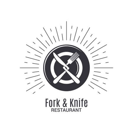 Fork and knife logo. Restaurant menu with plate