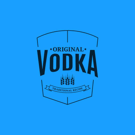 Vodka logo design. Glass of vodka label on blue