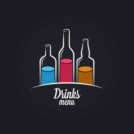 Drinks menu. Bottles of vodka, wine and whiskey  イラスト・ベクター素材