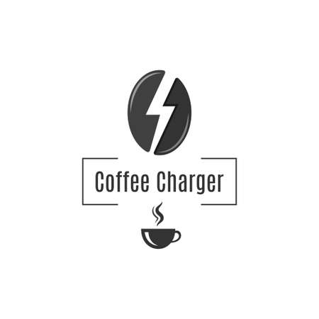 Coffee bean logo. Coffee cup energy concept