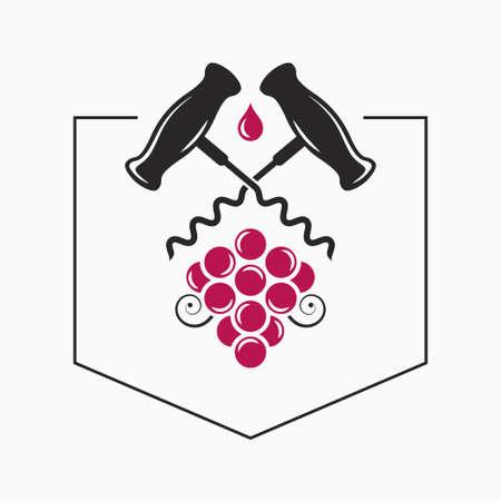 Wine grape with wine corkscrew  on white
