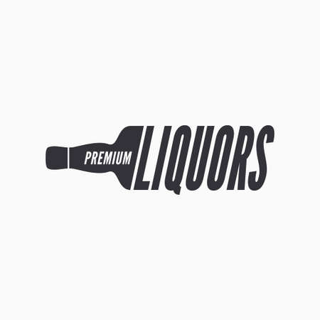 Liquor bottle glass logo on white