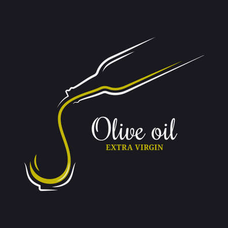 Olive oil logo. Bottle of olive oil on black