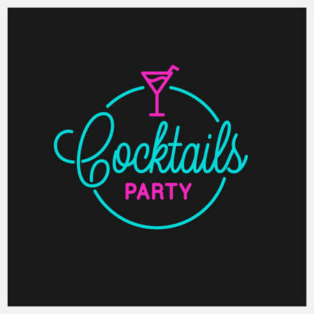 Cocktail party. Round linear of cocktail Ilustracja