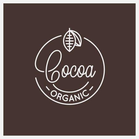 Cocoa lettering. Round linear of cocoa Vetores