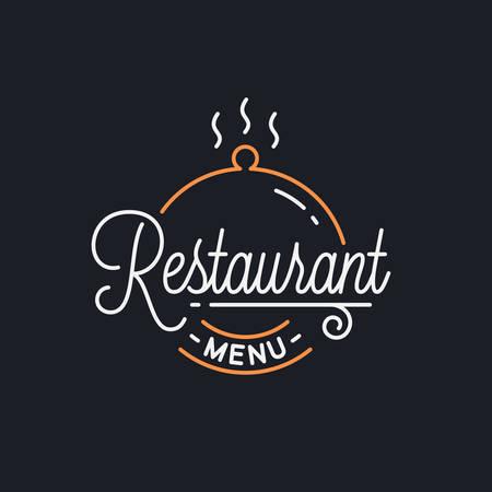 Restaurant menu. Round linear of tray cloche
