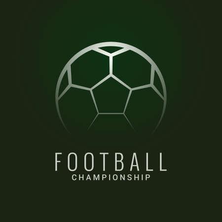 Football championship  . Soccer ball dark green