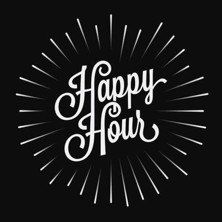 Happy Hour vintage lettering on black background Foto de archivo - 134858181