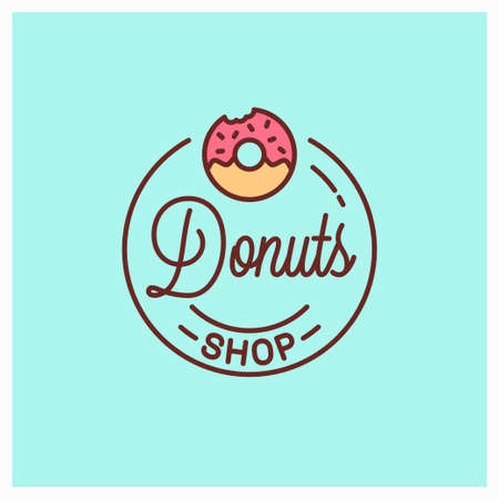 Donuts shop  . Round linear of donut bakery Stock Illustratie