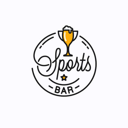 Sports bar  . Round linear of sports trophy cup Stock Illustratie