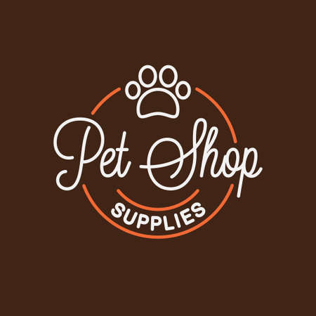 Pet shop  . Round linear   of pet supplies Stock Vector - 134858232